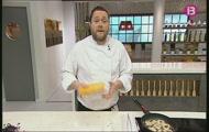'Anelles de ceba cruixents amb maionesa de wasabi' i 'Pastís de formatge'
